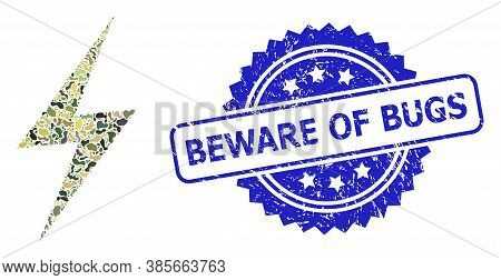 Military Camouflage Composition Of Electric Strike, And Beware Of Bugs Dirty Rosette Seal. Blue Stam