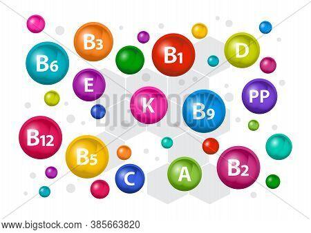 Colorful Multivitamin Complex For Health. Vitamin A, B1, B2, B3, B5, B6, B9, B12, C, D, E, K, Pp. Ve