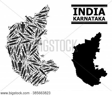 Covid-2019 Treatment Mosaic And Solid Map Of Karnataka State. Vector Map Of Karnataka State Is Shape