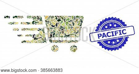 Military Camouflage Composition Of Shopping Cart, And Pacific Textured Rosette Stamp Seal. Blue Stam