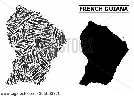 Covid-2019 Treatment Mosaic And Solid Map Of French Guiana. Vector Map Of French Guiana Is Shaped Fr