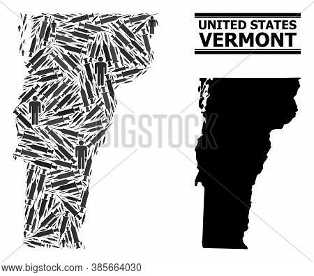 Vaccination Mosaic And Solid Map Of Vermont State. Vector Map Of Vermont State Is Formed Of Injectio
