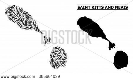 Virus Therapy Mosaic And Solid Map Of Saint Kitts And Nevis. Vector Map Of Saint Kitts And Nevis Is