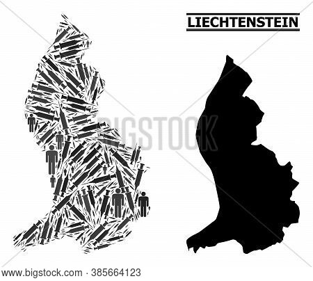 Inoculation Mosaic And Solid Map Of Liechtenstein. Vector Map Of Liechtenstein Is Created Of Inocula