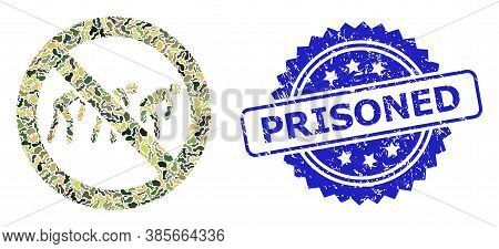 Military Camouflage Collage Of Forbidden Slavery, And Prisoned Dirty Rosette Stamp Seal. Blue Stamp