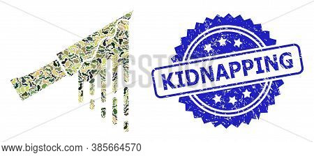 Military Camouflage Composition Of Bloody Knife, And Kidnapping Unclean Rosette Seal. Blue Seal Cont
