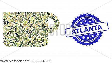 Military Camouflage Combination Of Cup, And Atlanta Grunge Rosette Seal. Blue Seal Contains Atlanta