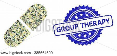 Military Camouflage Combination Of Medication Pill, And Group Therapy Grunge Rosette Seal Imitation.
