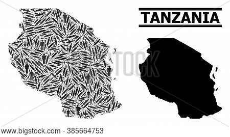 Inoculation Mosaic And Solid Map Of Tanzania. Vector Map Of Tanzania Is Made From Inoculation Icons