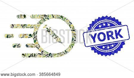 Military Camouflage Combination Of Rush Vaccine, And York Dirty Rosette Seal Imitation. Blue Seal Ha