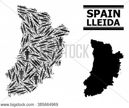 Covid-2019 Treatment Mosaic And Solid Map Of Lleida Province. Vector Map Of Lleida Province Is Done