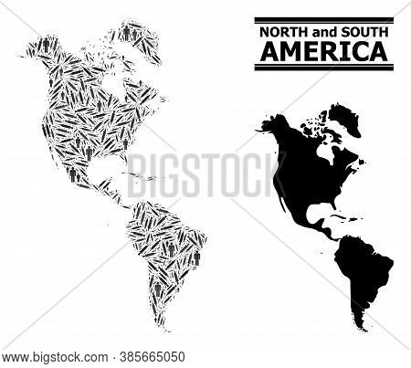 Covid-2019 Treatment Mosaic And Solid Map Of South And North America. Vector Map Of South And North
