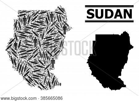 Covid-2019 Treatment Mosaic And Solid Map Of Sudan. Vector Map Of Sudan Is Composed From Syringes An