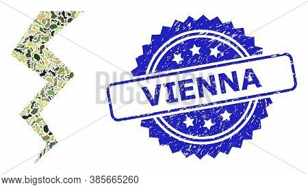 Military Camouflage Combination Of Thunder Crack, And Vienna Unclean Rosette Stamp Seal. Blue Stamp