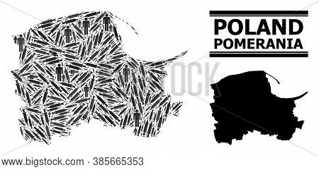 Covid-2019 Treatment Mosaic And Solid Map Of Pomerania Province. Vector Map Of Pomerania Province Is