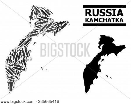 Vaccine Mosaic And Solid Map Of Kamchatka Peninsula. Vector Map Of Kamchatka Peninsula Is Created Wi