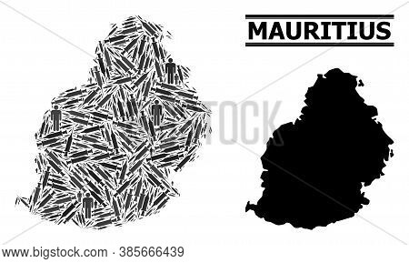 Inoculation Mosaic And Solid Map Of Mauritius Island. Vector Map Of Mauritius Island Is Designed Wit