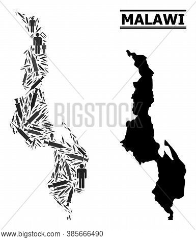 Virus Therapy Mosaic And Solid Map Of Malawi. Vector Map Of Malawi Is Done With Inoculation Icons An