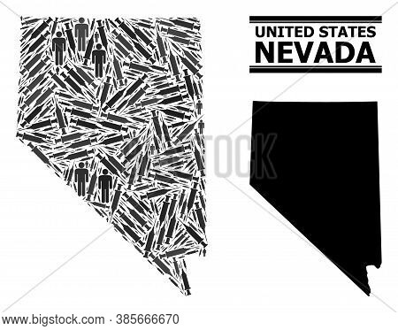 Vaccine Mosaic And Solid Map Of Nevada State. Vector Map Of Nevada State Is Designed From Vaccine Do