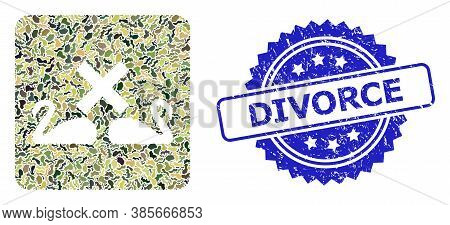 Military Camouflage Combination Of Divorce Swans, And Divorce Rubber Rosette Stamp Seal. Blue Stamp