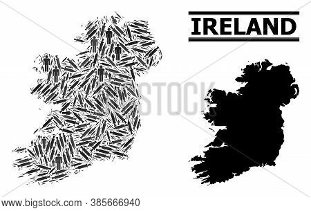 Vaccine Mosaic And Solid Map Of Ireland Island. Vector Map Of Ireland Island Is Shaped With Vaccine