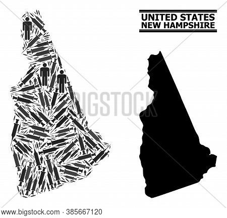 Covid-2019 Treatment Mosaic And Solid Map Of New Hampshire State. Vector Map Of New Hampshire State