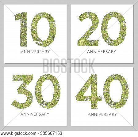Flowers Numbers Cards Set. Anniversary Invitations. Creative Vector Illustration Numbers 10, 20, 30,