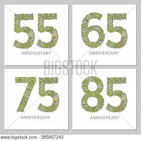 Flowers Numbers Cards Set. Anniversary Invitations. Creative Vector Illustration Numbers 55, 65, 75,