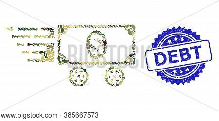 Military Camouflage Composition Of Dollar Car, And Debt Dirty Rosette Seal Print. Blue Stamp Seal Co