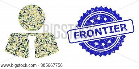 Military Camouflage Collage Of Mister, And Frontier Grunge Rosette Seal Print. Blue Seal Has Frontie