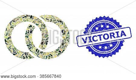 Military Camouflage Collage Of Wedding Rings, And Victoria Scratched Rosette Watermark. Blue Stamp S