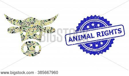 Military Camouflage Collage Of Cow Head, And Animal Rights Dirty Rosette Seal Print. Blue Stamp Seal