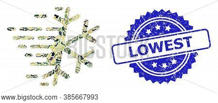 Military Camouflage Collage Of Frost Snowflake, And Lowest Unclean Rosette Stamp Seal. Blue Stamp Se