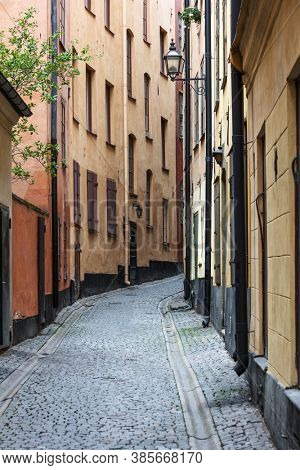 cobblestone pavement in the old town, Stockholm