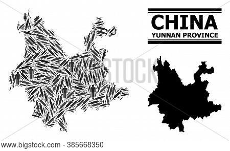 Covid-2019 Treatment Mosaic And Solid Map Of Yunnan Province. Vector Map Of Yunnan Province Is Compo