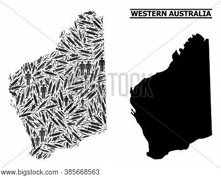 Vaccine Mosaic And Solid Map Of Western Australia. Vector Map Of Western Australia Is Constructed Of