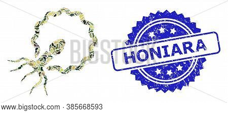 Military Camouflage Collage Of Virus Penetrating Cell, And Honiara Unclean Rosette Stamp Seal. Blue