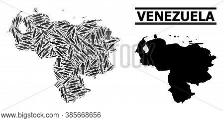 Virus Therapy Mosaic And Solid Map Of Venezuela. Vector Map Of Venezuela Is Done From Injection Need