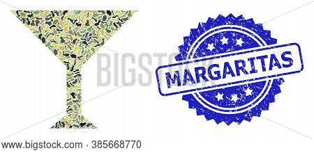 Military Camouflage Combination Of Martini Cup, And Margaritas Rubber Rosette Stamp Seal. Blue Stamp