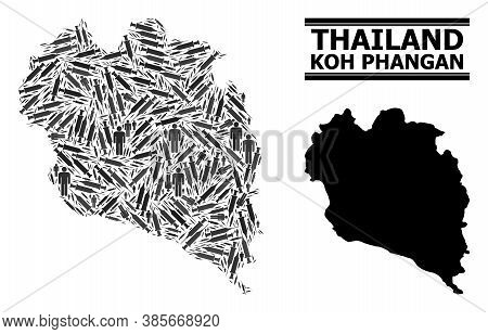 Vaccine Mosaic And Solid Map Of Koh Phangan. Vector Map Of Koh Phangan Is Made Of Vaccine Doses And