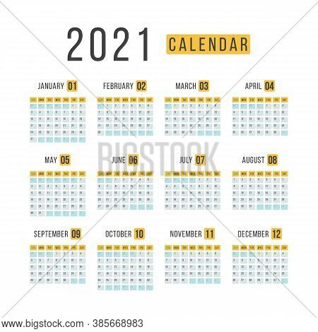 Calendar 2021 Template Layout. 12 Months Yearly Calendar Set In 2021 On White Background For Organiz