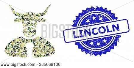 Military Camouflage Composition Of Bull Boss, And Lincoln Scratched Rosette Seal Print. Blue Seal In