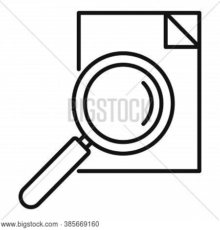Paper Magnifier Exploration Icon. Outline Paper Magnifier Exploration Vector Icon For Web Design Iso