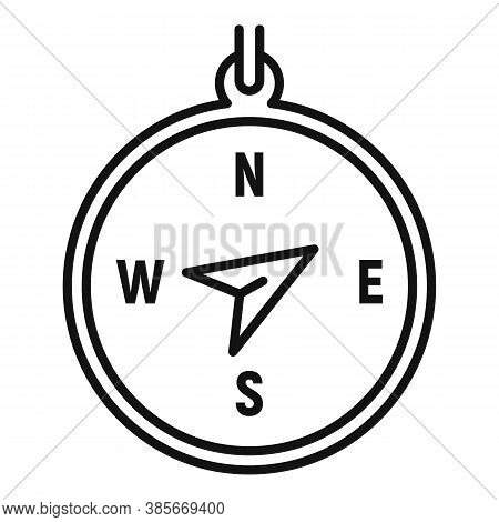 Discovery Compass Icon. Outline Discovery Compass Vector Icon For Web Design Isolated On White Backg