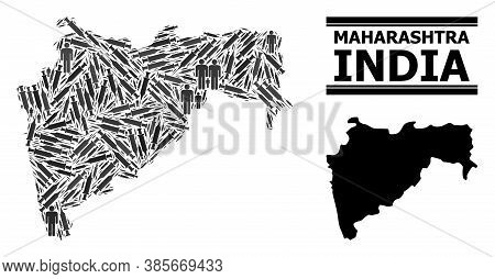 Vaccination Mosaic And Solid Map Of Maharashtra State. Vector Map Of Maharashtra State Is Made From