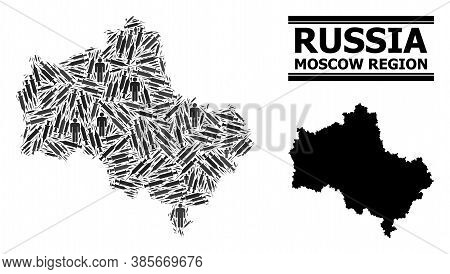 Covid-2019 Treatment Mosaic And Solid Map Of Moscow Region. Vector Map Of Moscow Region Is Shaped Wi