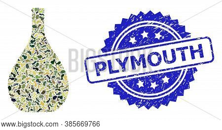 Military Camouflage Composition Of Glass Jug, And Plymouth Grunge Rosette Stamp Seal. Blue Stamp Sea