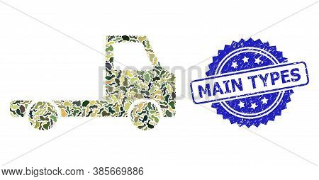 Military Camouflage Composition Of Delivery Car Chassi, And Main Types Dirty Rosette Stamp Seal. Blu