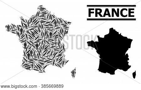 Covid-2019 Treatment Mosaic And Solid Map Of France. Vector Map Of France Is Made With Vaccine Doses