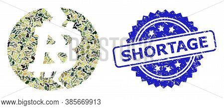 Military Camouflage Collage Of Broken Bitcoin, And Shortage Dirty Rosette Seal Print. Blue Seal Incl